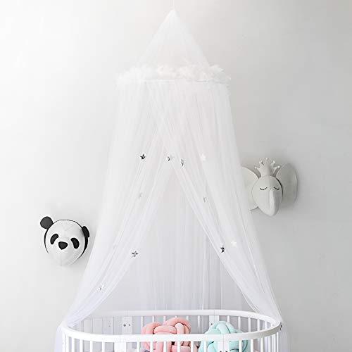 Betthimmel Moskitonetz Vorhänge mit Federn und Sternen Nette schöne Dekoration für Babys Mädchen Kleinkinder und Teen Schlafzimmer, weiß (Mädchen Teen-schlafzimmer-vorhänge Für)
