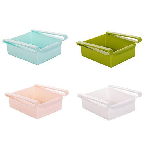 She-Lin 4 pcs réfrigérateur tiroir de Rangement en Plastique Boîtes de Rangement carré récipient Organiseur de tiroir réfrigérateur réfrigérateur Desk Table, 6 × 6,4 × 6,9 cm