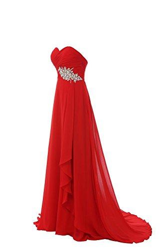 YiYaDawn Langes Elegantes Ballkleid Abendkleid mit Schleppe Steinen für Damen Rot