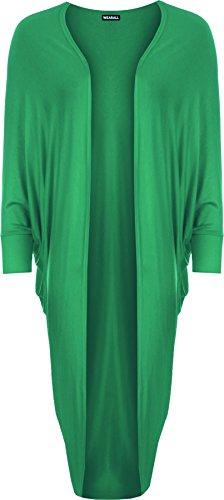 WearAll - Long ouvert gilet top à manches chauve-souris - Hauts - Femmes - Tailles 36 à 46 Jade