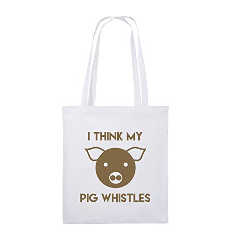 Comedy Bags - I THINK MY PIG WHISTLES - Jutebeutel - lange Henkel - 38x42cm - Farbe: Schwarz / Silber Weiss / Hellbraun