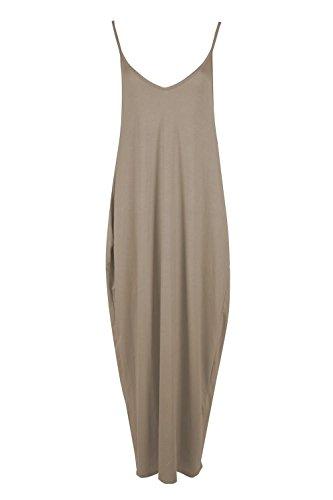Oops Outlet Damen Dünn Riemchen Ärmellos Baggy Unterhemd Lagenlook Lang Maxi Kleid Übergröße UK 8-22 Stein