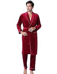 Rosatro Men's Long-Sleeved Gold Velvet Pajamas Suit Comfortable Sleepwear Lounge Robe Top