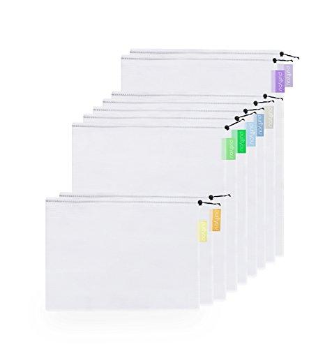 purifyou Premium wiederverwendbar Mesh/produzieren Taschen, 9Stück, mit Soft Pastel farblich abgestimmt Tags, zwei große 30,5x 43,2cm, fünf Medium 30,5x 35,6cm, und zwei kleine 30,5x 20,3cm (Satin-mesh-bhs)