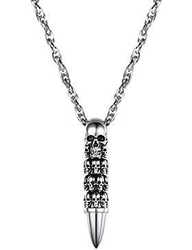 PROSTEEL Halskette Edelstahl Totenkopf Gewehrkugel Geschoss Anhänger Halskette Fashion Modeschmuck für Herren