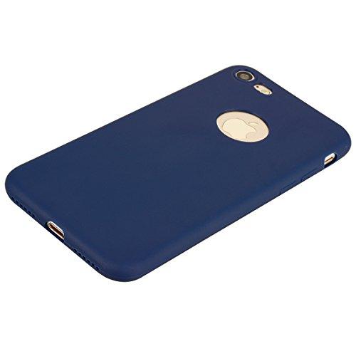 iphone 7 Hülle, E-Lush TPU Silikon Handy Case Hülle für iphone 7 8 Schön Einfarbig Jelly Weich Dünn Muster Weich Silikon Handyhülle Schale Schutzhülle Ultradünnen Etui Anti-stoß Kratzfeste Case Cover  Brown blau