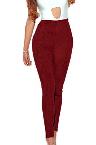 Le Donne In Autunno A Tempo Pieno Alto Vita Pantaloni Di Velluto Leggings Red