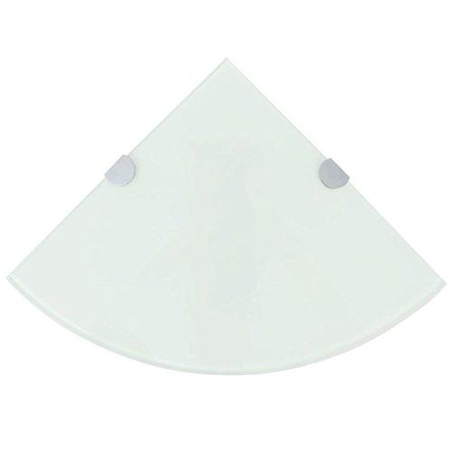 Festnight- Glas Eckregal Eck-Badablage   Glasregal für Badezimmer/Schlafzimmer/Küche, mit verchromten Halterungen Weiß 25 x 25 cm