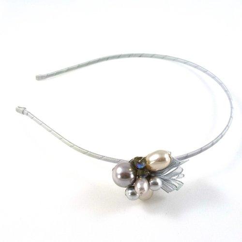 rougecaramel - Serre tête/headband joli motif perle - gris