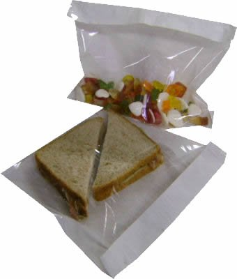 100 x Cellophane White Film Fronted Sweet / Sandwich / Food Paper Bags - 7