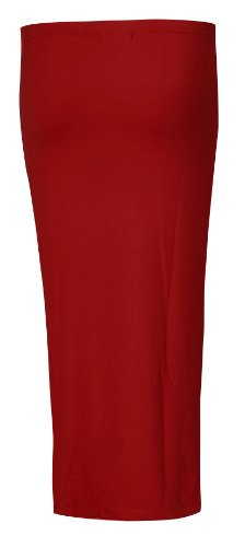 Fast Fashion Damen Viskose Jersey Doppellagige Gummizug Bleistiftrock Wine