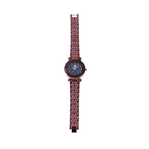 Luxuriös Damen Quarz Edelstahl Uhr Silber und Armband Kristall Akzent Tages rund wasserdicht analoge Armbanduhren für Damen Damen Uhr Kaffee -