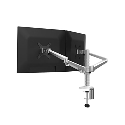 Réglable en Aluminium pour ordinateur portable/Notebook/moniteur LCD Desk Mount Support pivotant et inclinable avec bras simple collier de serrage de Support (Dual Monitor)