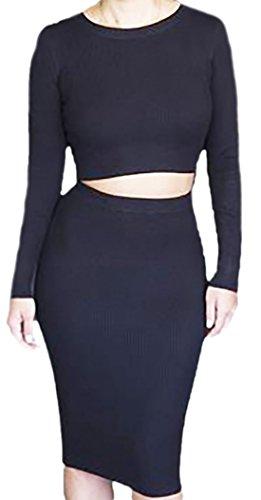 erdbeerloft - Damen 2-teiliges Outfit Oberteil und Rock, XS-XL, Viele Farben Schwarz