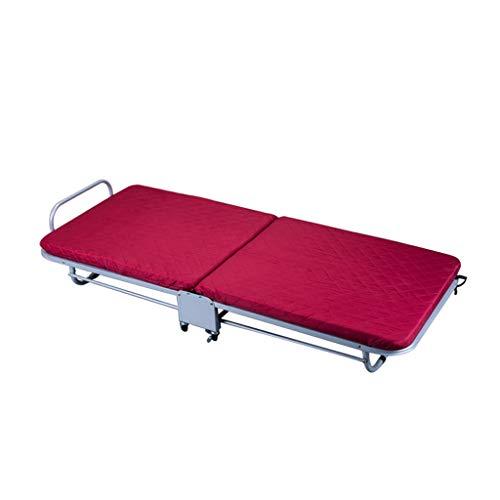Rojo Simple portátil Almuerzo Descanso Plegable Cama Interior y al Aire Libre Individual portátil Resto Cama Rollsnownow (Tamaño : 110cm)