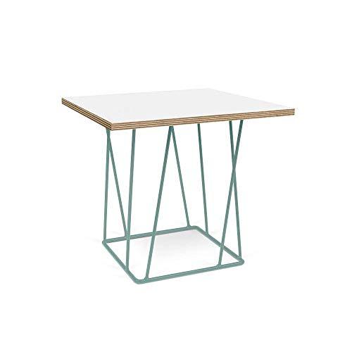 TemaHome Table Basse Helix 50 Plateau Blanc Mat/Bois Structure laquée Verte
