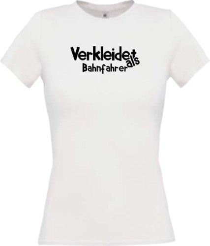 camiseta de chica Verkleidet als Conductor del tren Disfraz De Carnaval Revestimiento muchos colores camiseta de culto XS-XL - Blanco, XL