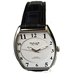 Omax Men's Wrist Watch Brown Leather Strap and White Clour Dail