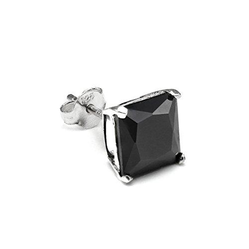 Sterling Silber Viereck Single Ohrstecker für Herren mit 8mm Schwarzem CZ Kristall