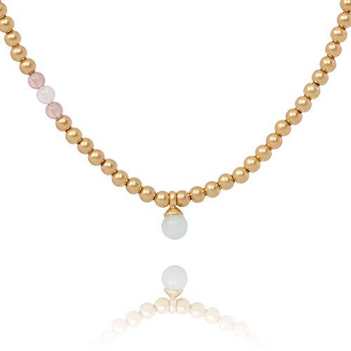 Sence Copenhagen Sehr Lange Halskette Damen Gold - Kette JOURNEY WORN GOLD mit Frischwasser-Perle und Rosenquarz 100 cm Länge Messing vergoldet - P582