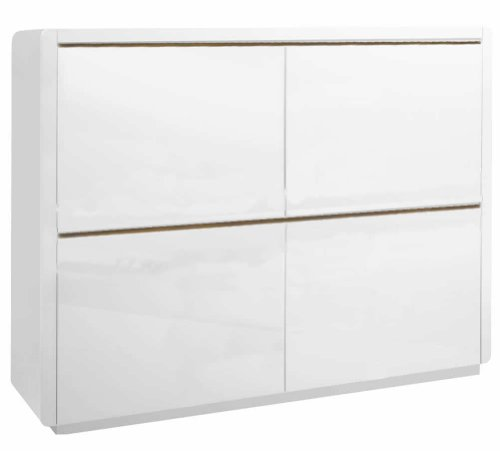 Phönix 158868WE Prana Highboard mit 4 Türen und wechselbaren Schattenleisten, weiss hochglanz