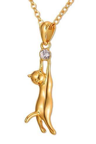 Collana gatto con una pietra strass–design elegante chic rafiné–mignon ciondolo–regalo originale donna ragazza madre–natale e metallo dorato, colore: giallo, cod. chat perle