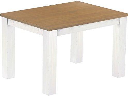 Brasilmoebel Esstisch Rio Classico 120 x 90 cm - Pinie Massivholz Eiche natur - Weiß - in 27 Größen und 50 Farben - über 1000 Varianten - Echtholz...
