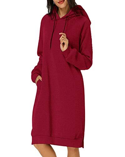 Kidsform Damen Kapuzenpullover Pullover Hoodie Lange Tops Langarm Sweatshirt Casual Täglich Herbst Pulli Kleider Sweatjacke JumperWein Rot EU 36/Etikettgröße S