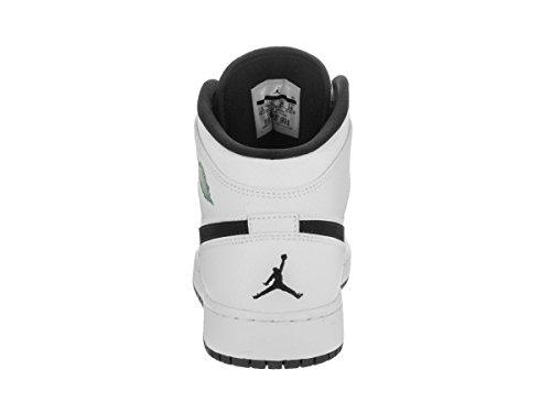 Nike Air Jordan 1 Mid Bg, Chaussures de Basketball garçon Elfenbein (White/black/white/hyper Jade)