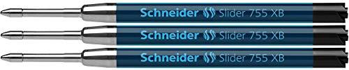 Schneider - Ricarica per penna a sfera Slider 755, tratto extra spesso, 3 pz, inchiostro che non stinge, colore: nero