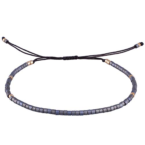 KELITCH Armbänder Damen Frauen Dünn Seil Rocailles Perlen Charme Strangarmband Freundschaft Armband Armbänder Herren Männer Freundschaftsarmbänder (Silber Blau)