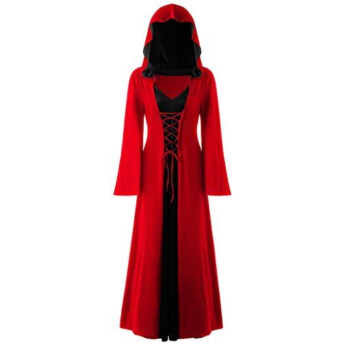 Mittelalter Kostüm Damen Langarm Kleid mit Kapuze Renaissance Cosplay Dress Piebo Lang Umhang Lace Up Gothic Kleider Halloween Weihnachten Karneval Fasching Viktorianischen Königin Vampir Hexenkostüm (Viktorianisches Gothic Mädchen Kostüm Halloween)
