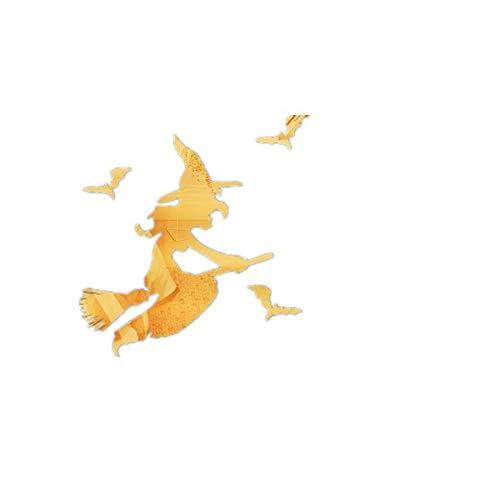 Kreative Wandaufkleber 3D Hexe Fledermaus Spiegel Wandaufkleber Hexe Fledermaus Halloween Wohnzimmer Dekoration Aufkleber 30 * 35 Cm Kinder Schlafzimmer Dekoriert Wohnzimmer Roomart Spiegel Wandbild (Dekoriert Halloween Kuchen)