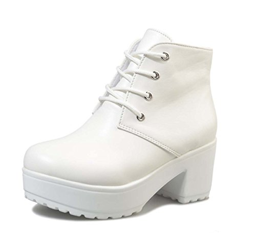 Womens Lace-up Martin Stiefel Plattform Chunky Ferse Ankle Boot Hochzeit Stiefel ( Color : White , Size : 41 ) (Up Boot Ankle Ferse-lace)
