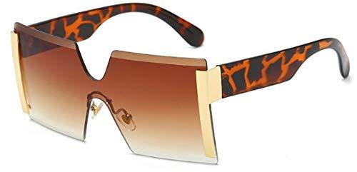 Sonnenbrillen. Frauen Übergroße Brille Halb Randlose Quadratische Sonnenbrille Designer Große Weibliche Sonnenbrille Outdoor Reisen Sommer Staub Uv400 Leopard Kaffee