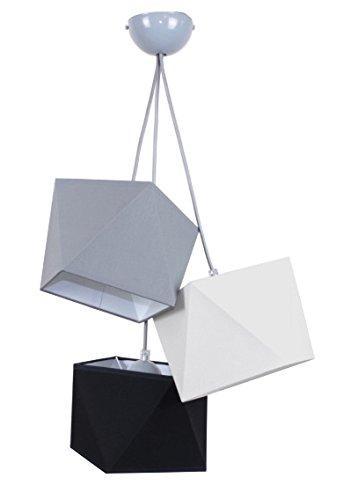 Hängelampe schöne Hängeleuchte Diamant L3 Metall viele Farben (Lampenschirm: Grau-Weiß-Schwarz)
