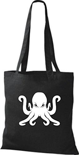 ShirtInStyle Stoffbeutel Baumwolltasche Sailing Motive Krake Kraken schwarz