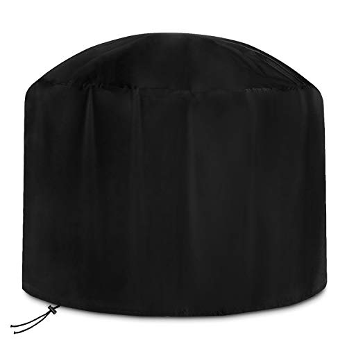Dokon Large Fire Pit Cover Waterproof Breathable Oxford Fabric Outdoor Garden Patio Heater Cover, Round (80x50cm) - Black