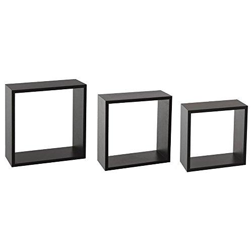 Kit de 3 étagères murales Cube Noir