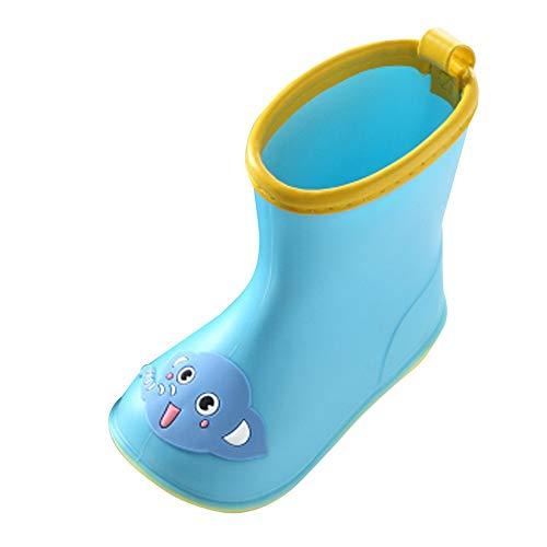 Wawer Kinder Regenstiefel Baby Cartoon Tiere Regen Stiefel Rutschfeste Gummistiefel Wasserdichte Stiefel Regen Schuhe Wasserdicht Regenschuhe für Mädchen & Jungen (22 EU / 2-2.5T, Blau  Elefant )