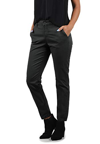 BlendShe Chilli Damen Chino Hose Stoffhose Regular-Fit, Größe:L, Farbe:Ebony Grey (75111)