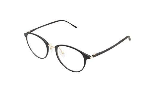 XYAS Mode TR90 Unisex Glas Brillenfassung Superleicht klare linse Wechselgläser Nerdbrille Brillenfassungen(Schwarz)