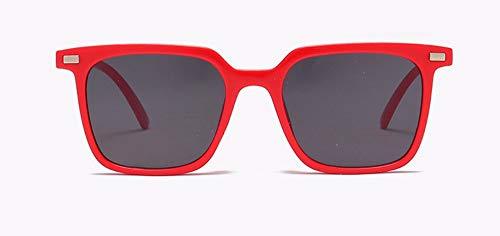 WSKPE Sonnenbrille Quadratischen Rahmen Männer Frauen Sonnenbrille Niet Sonnenbrille Retro Brillen Farben Uv400 (Rot Gestell Schwarz Objektiv)