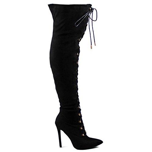 Viva Femme Allonger Longue Mode Fixer Cuisse Haute Stilettos À Haut Talon Robe Noire
