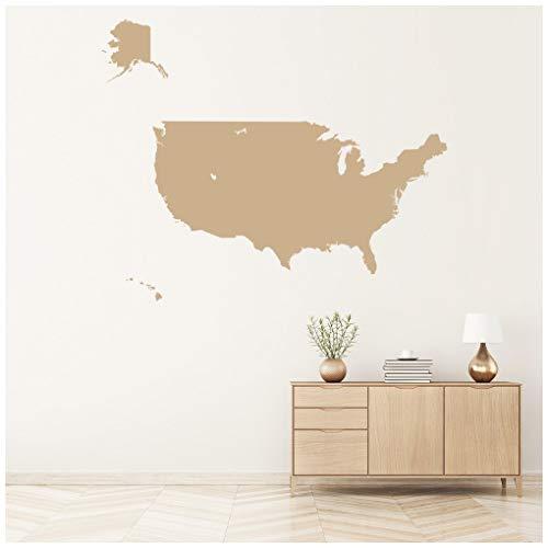 azutura Amerika Karte Wandtattoo USA Karte Wand Sticker Schulamt Schlafzimmer Wohnkultur verfügbar in 5 Größen und 25 Farben Mittel Wolke Grau