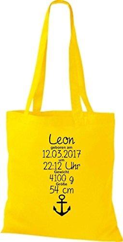 shirtstown Borsa di stoffa UNO MERAVIGLIOSO REGALO ALLA NASCITA CON TUO PERSONALI initilien ANCORA giallo dorato