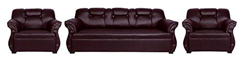 Homestock 5 Seater Wooden Sofa Set (3+1+1, Brown)