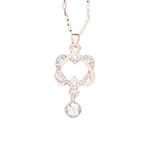 Liquidazione offerte,fittingran new 925 sterling silver cristalli swarovski donna pendente doppio cuore collana,regali natale, senza allergeni