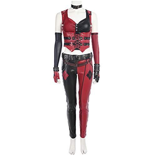 Kostüm Batman Stadt Party - nihiug Batman, die Stadt von A-Gump, der Clown, das Cosplay-Kostüm, die COS-Kleidung aus Leder für Damen, Halloween nach Maß,Red-XL