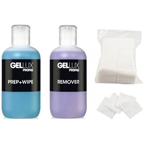 Salon System Gellux Profile Ultra Violet Gel Systems Prep Plus Wipe, Remover Acetone 250ml and 200 Lint Free Nail Wipes by Salon Systems